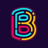 Fotografie B letter logo with neon lines