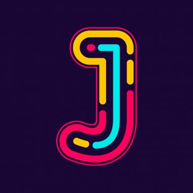 J etter logo with neon lines