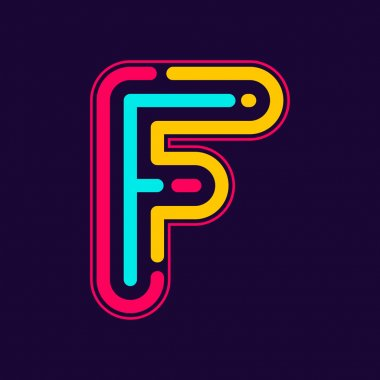 F letter logo with neon lines