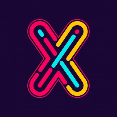 X letter logo with neon lines