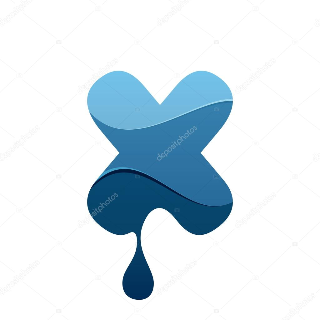 X letter logo with blue water and drops.