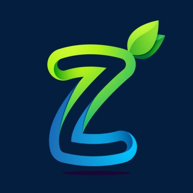 Z letter with green leaves