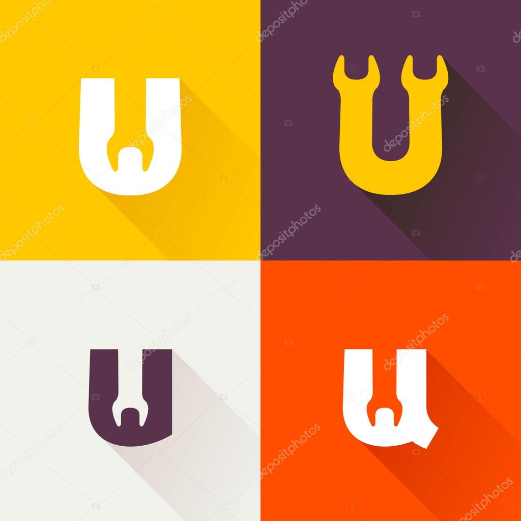 U letter with wrench logo set.