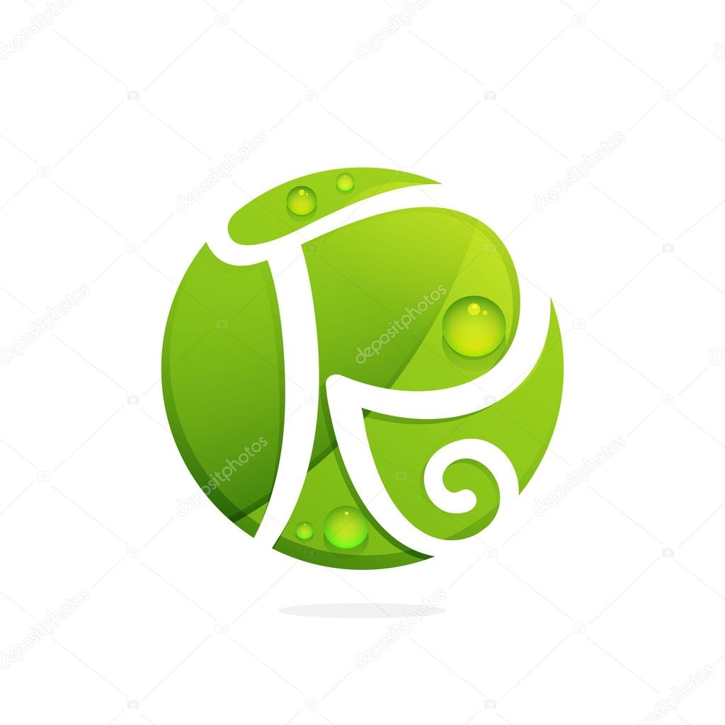 R letter with green leaves and dew drops.