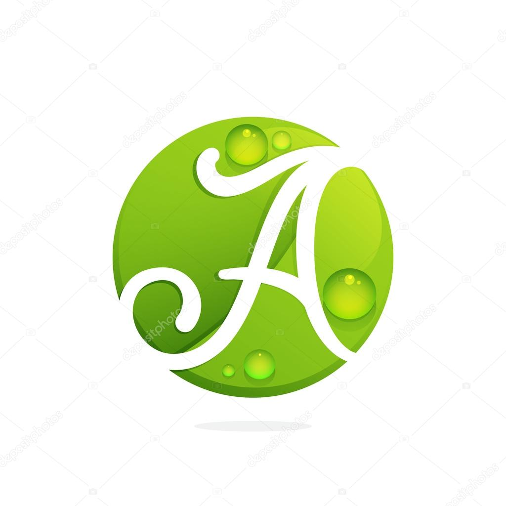 Letter A with green leaves and dew drops.