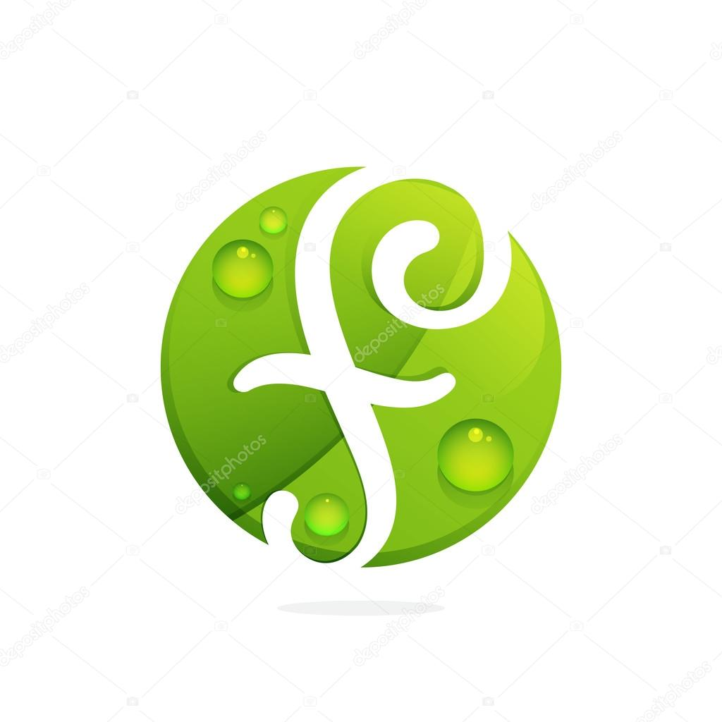 F letter with green leaves and dew drops.