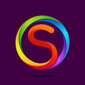 Fotografie S letter colorful logo in the circle