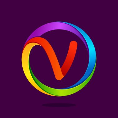 V letter colorful logo in the circle