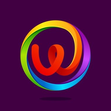 W letter colorful logo in the circle