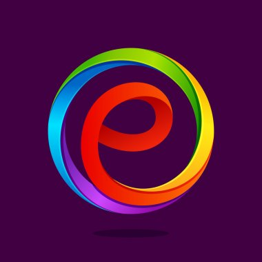 E letter colorful logo in the circle