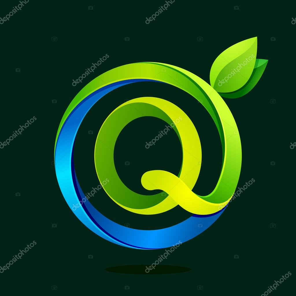 Q letter with green leaves and water waves.