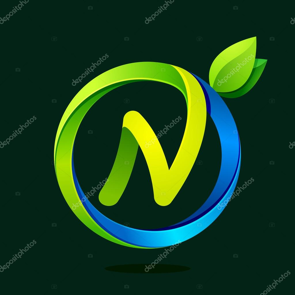 N letter with green leaves and water waves.