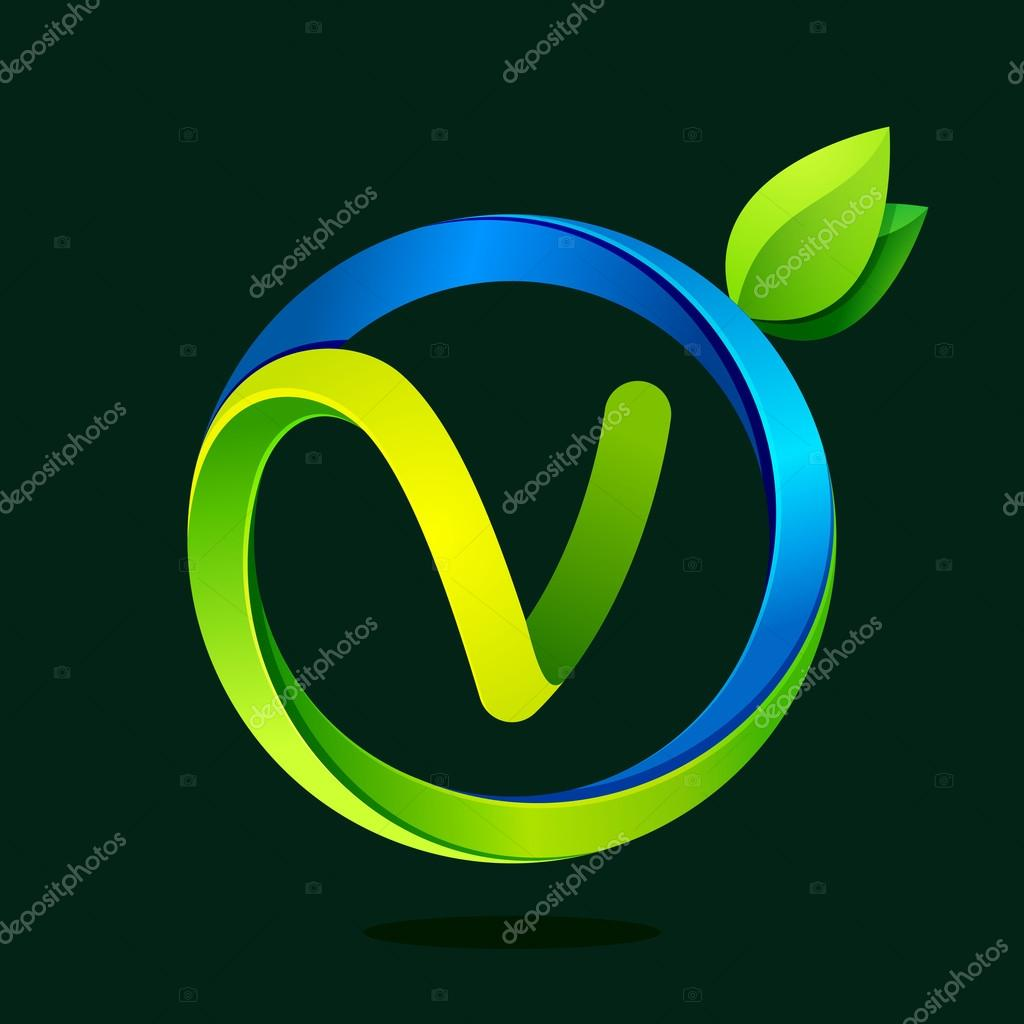 V letter with green leaves and water waves.