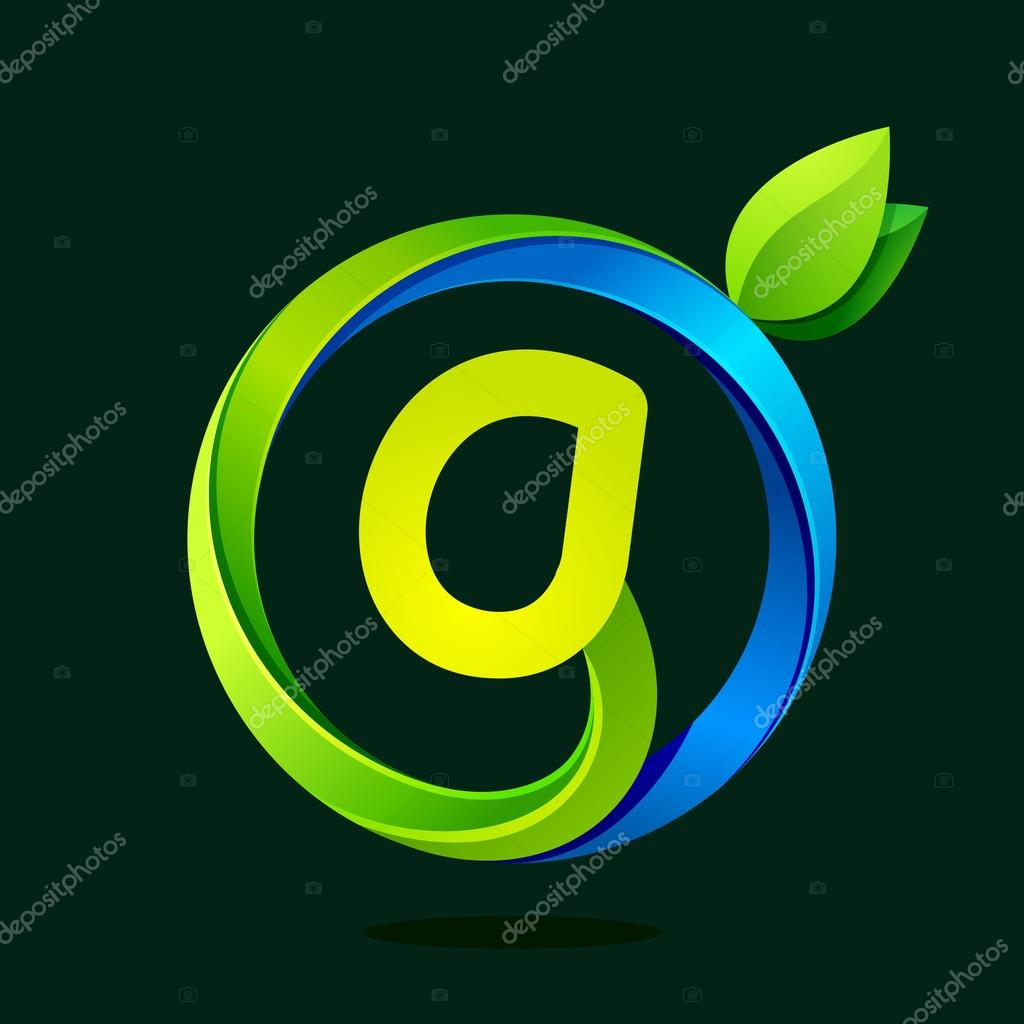 G letter with green leaves and water waves.