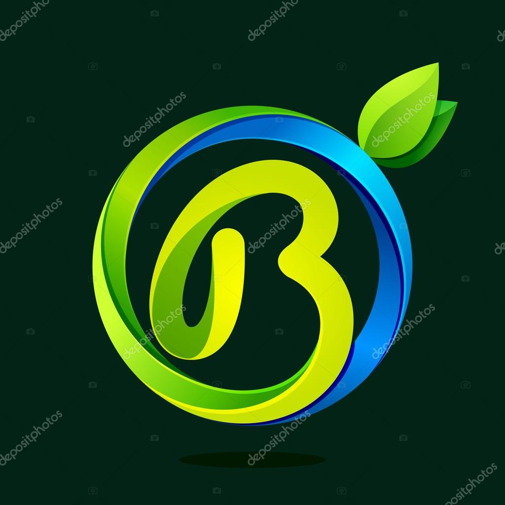 B letter with green leaves and water waves.
