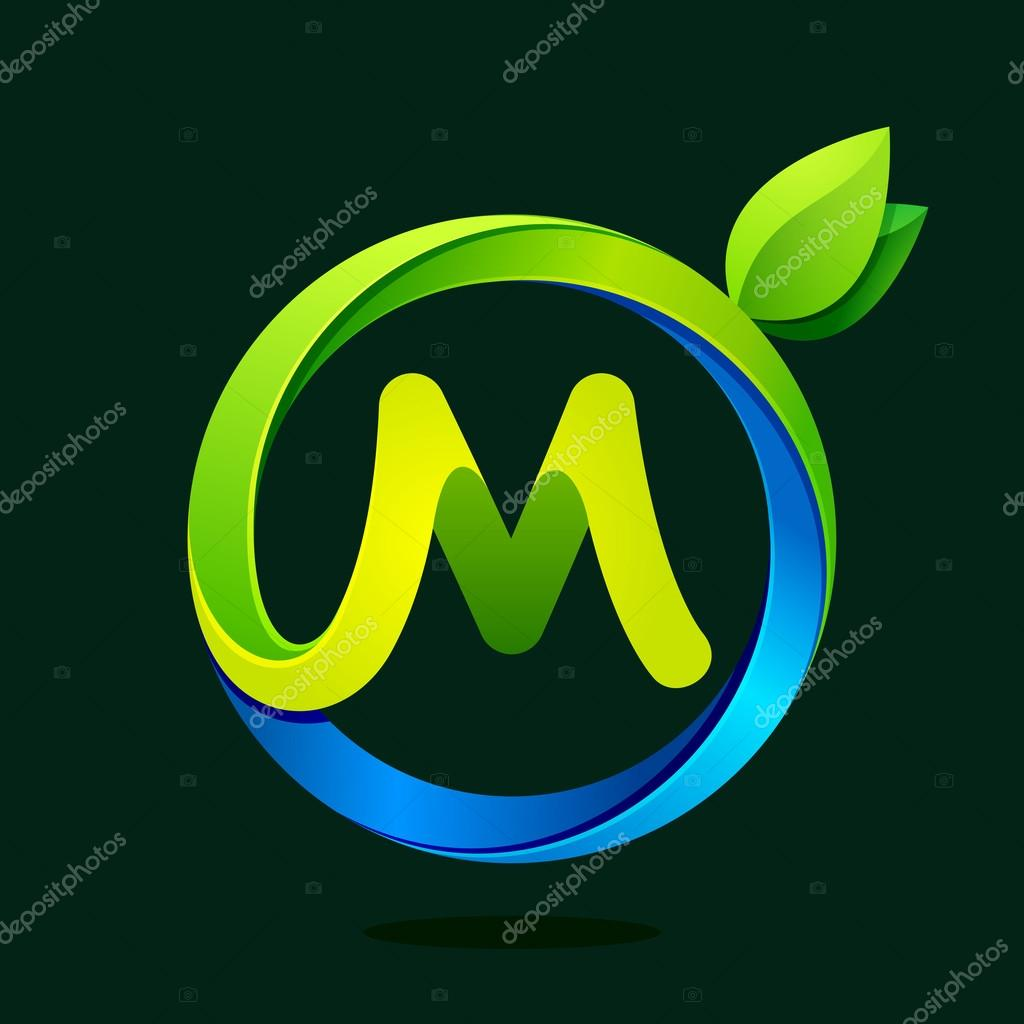 M letter with green leaves and water waves.