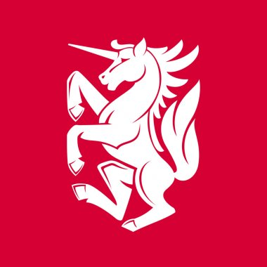 Heraldic unicorn emblem
