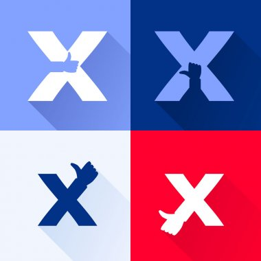 X letter with thumb up set.