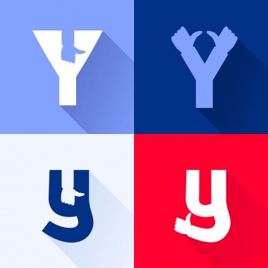 Y letter with thumb up set.