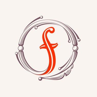 F letter monogram design elements.