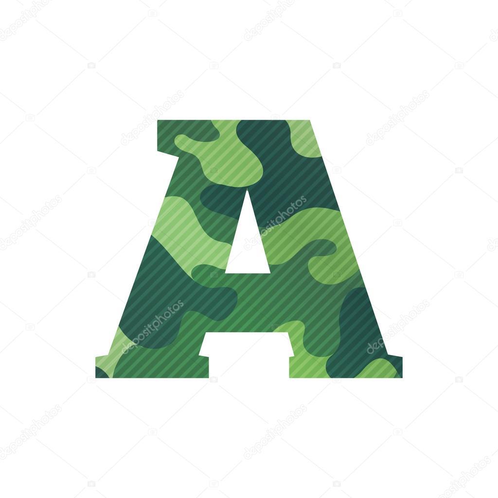 Letra A con camuflaje verde — Vector de stock © kaer_dstock #88075816