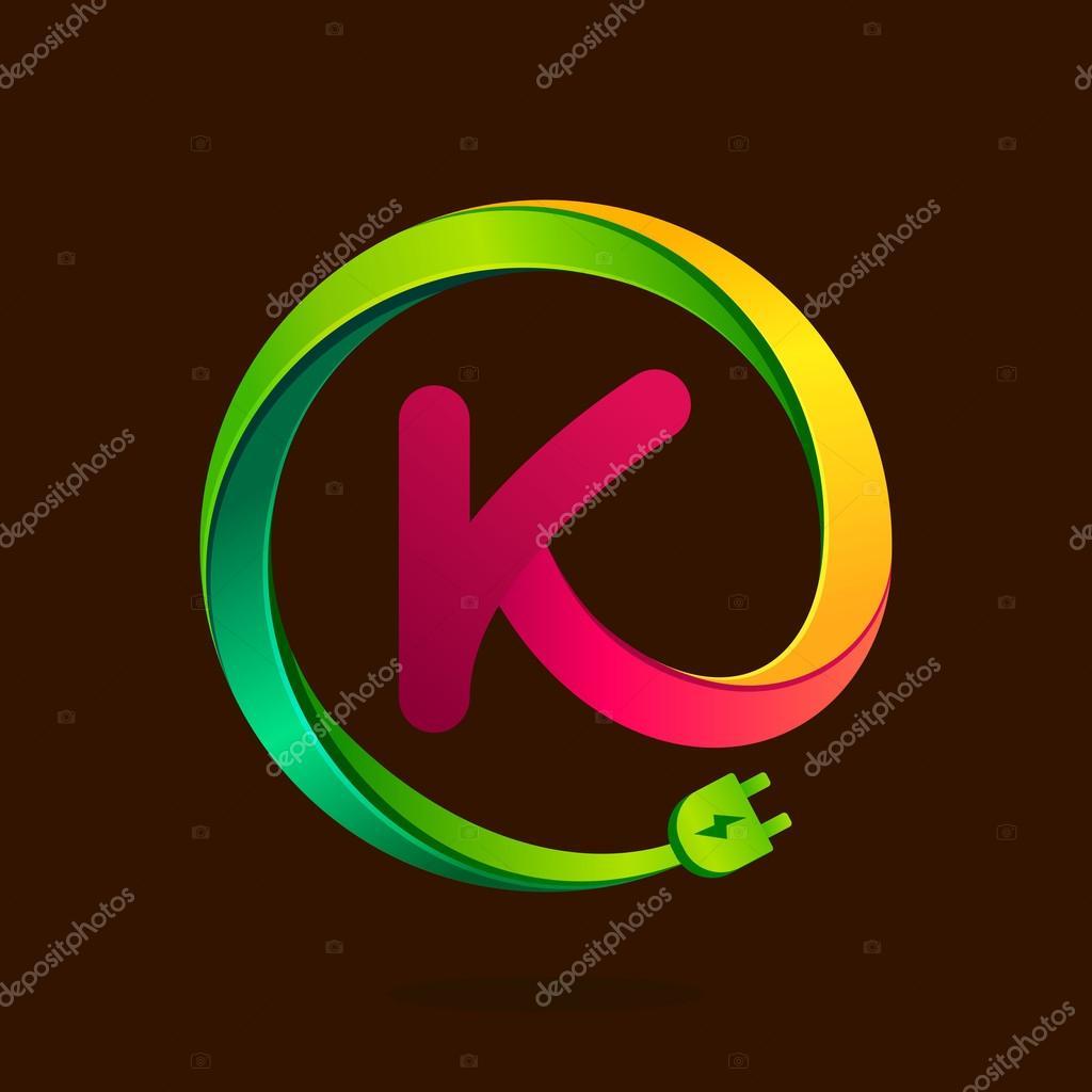 K Buchstabe mit Draht Stecker Symbol — Stockvektor © kaer_dstock ...