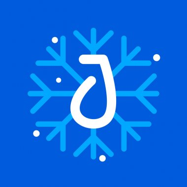 J letter with snowflake icon on the blue background.