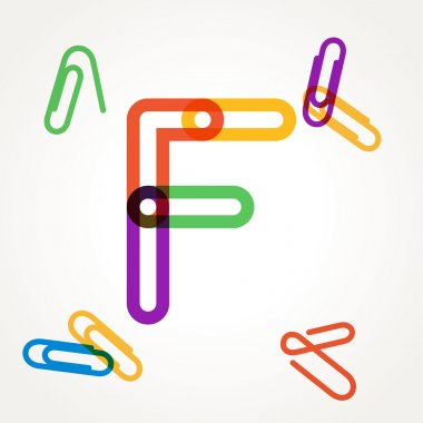 F letter from paper clip alphabet.