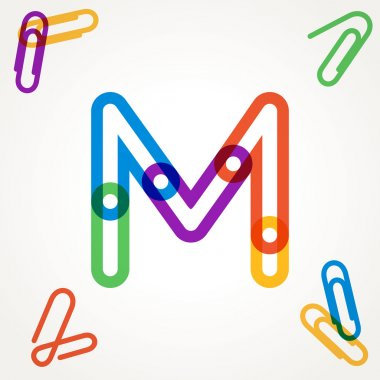 M letter from paper clip alphabet.