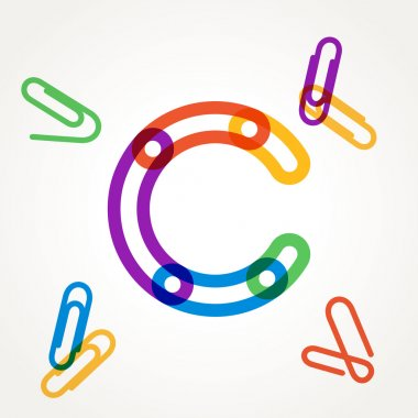C letter from paper clip alphabet.