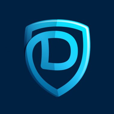 D letter with blue shield.