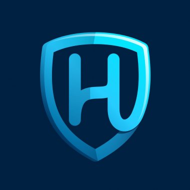 H letter with blue shield.
