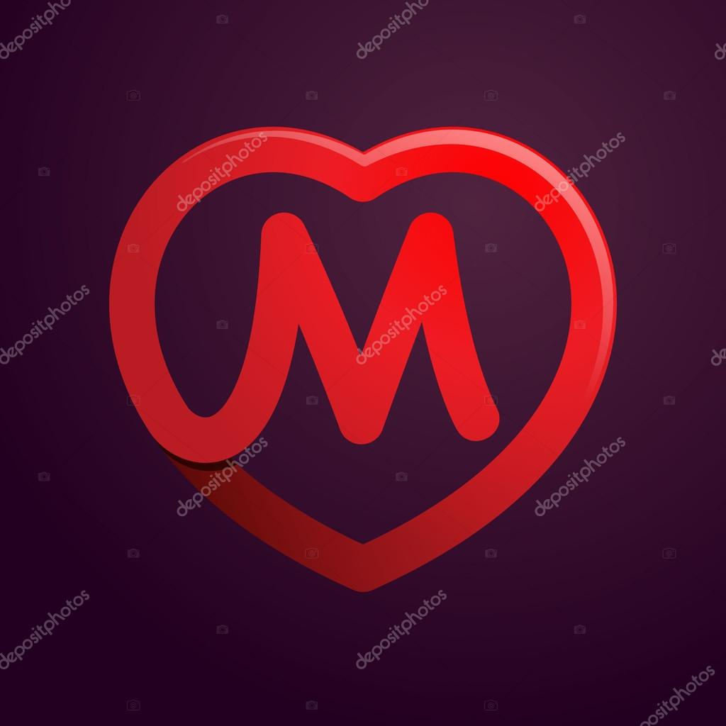 M letter with red heart  — Stock Vector © kaer_dstock #89766890
