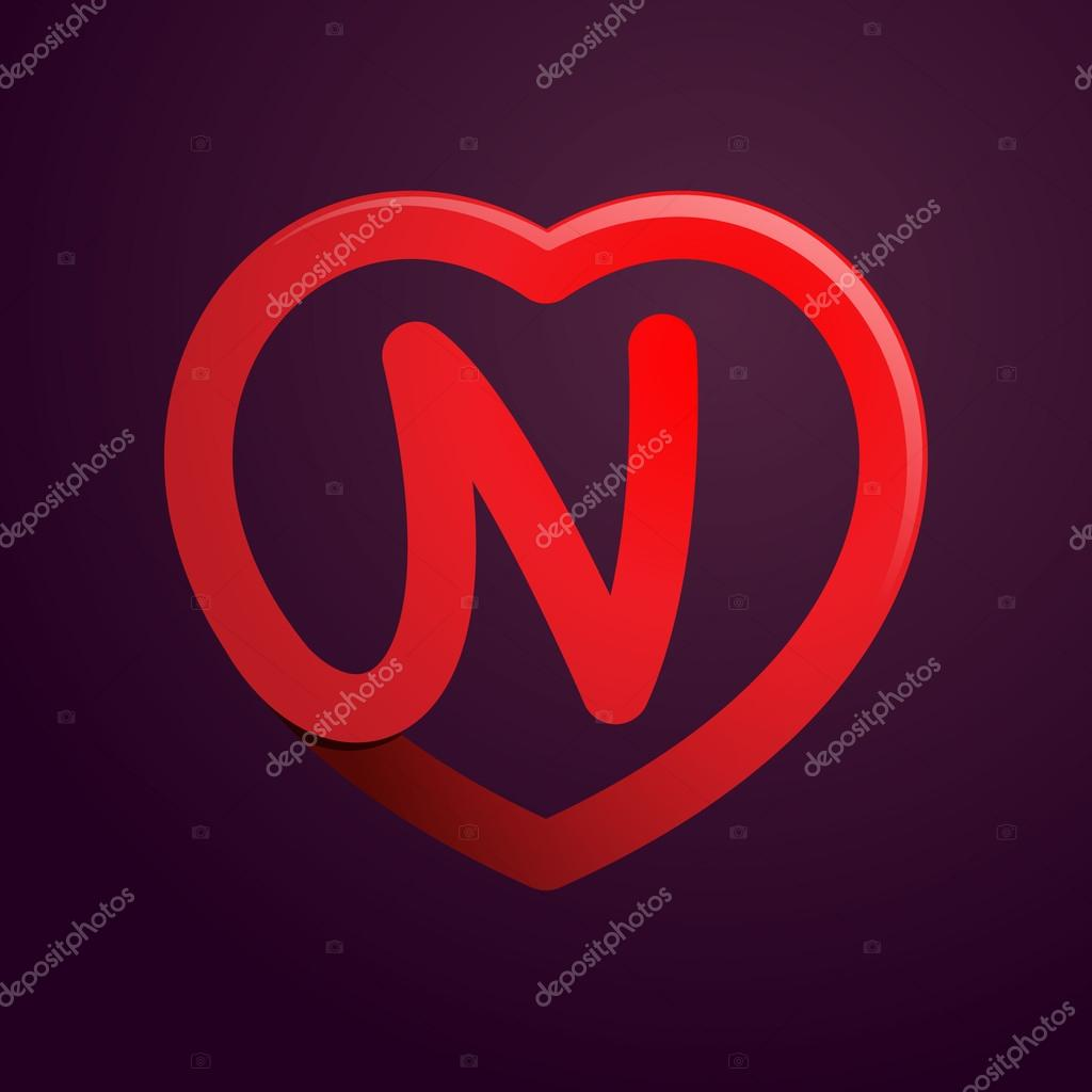 N Letter With Red Heart Stock Vector C Kaer Dstock 89766926