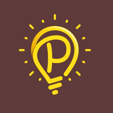 P letter with light bulb or idea icon.