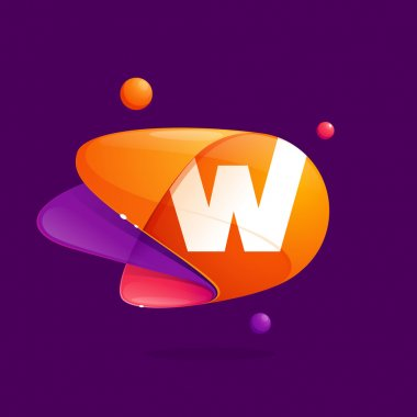 W letter with atoms orbits colorful icon.