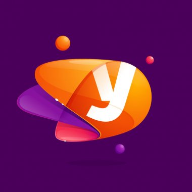 Y letter with atoms orbits colorful icon.
