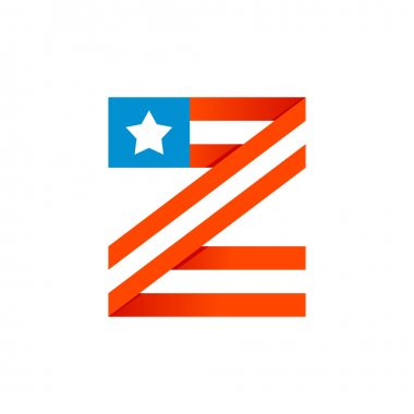 Z letter with american stars and stripes.