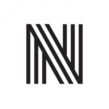 N letter formed by parallel lines.