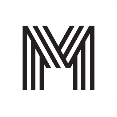 M letter formed by parallel lines.