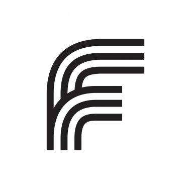 F letter formed by parallel lines.