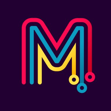 M letter formed by electric line.