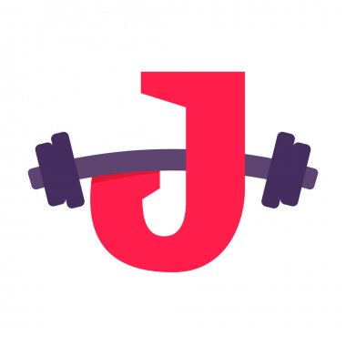 J letter with barbell.