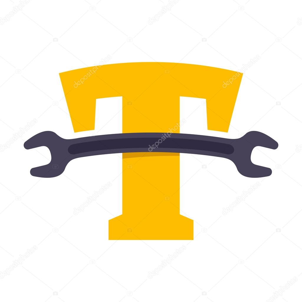 T letter with wrench.