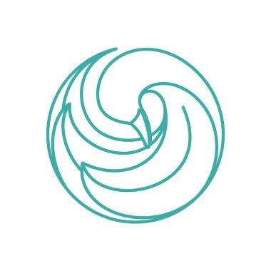 Goose, swan bird logo. Line art style.