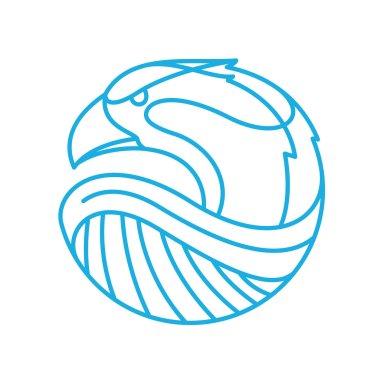 Eagle head logo. Line art style.