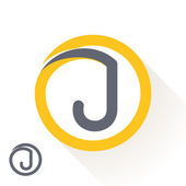 Photo J letter with round line logo