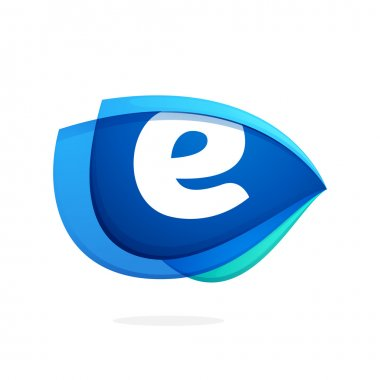 E letter logo with blue wing or eye