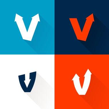 V letter with arrows set