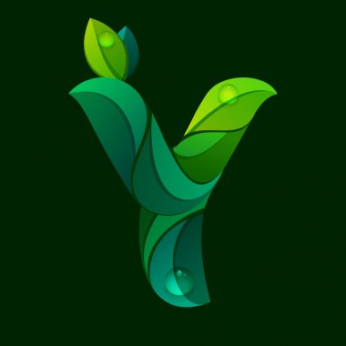 Y letter logo formed by green leaves.